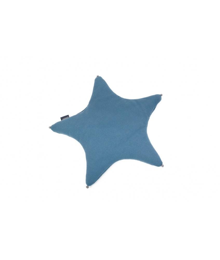 Organic Star Cushion color: denim blue
