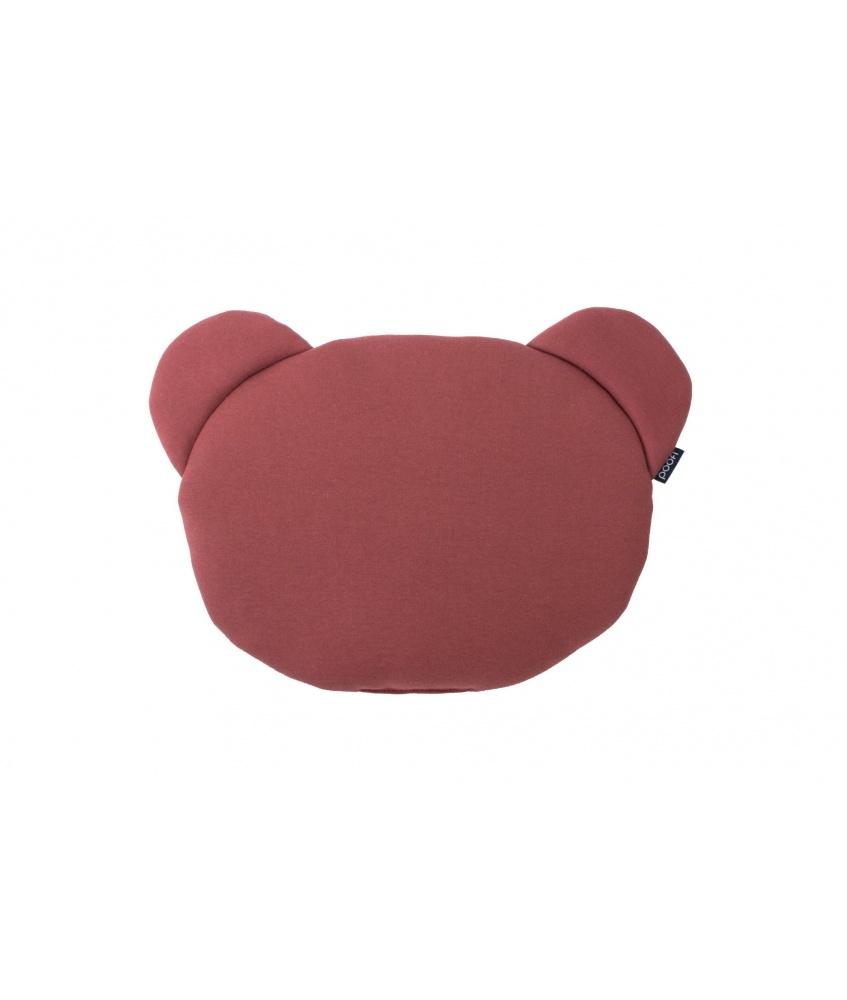 Organic Teddybear Cushion color: maroon and grey
