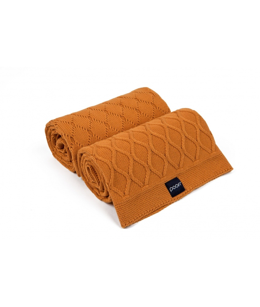 Knitted blanket double knit color: carrot