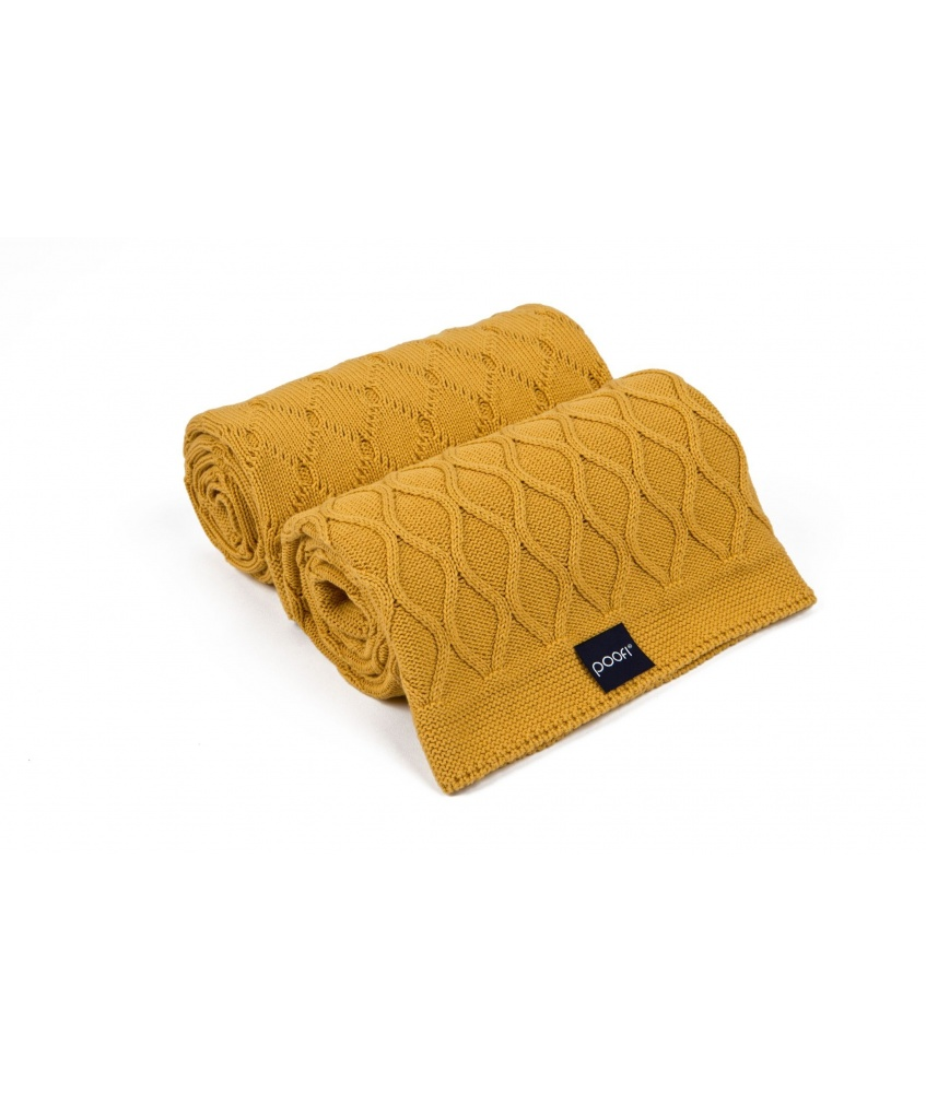 Knitted blanket double knit color: honey