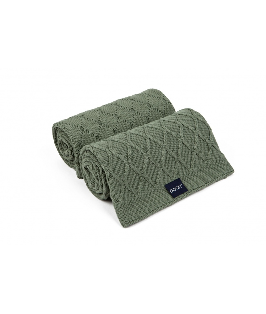 Knitted blanket double knit color: olive