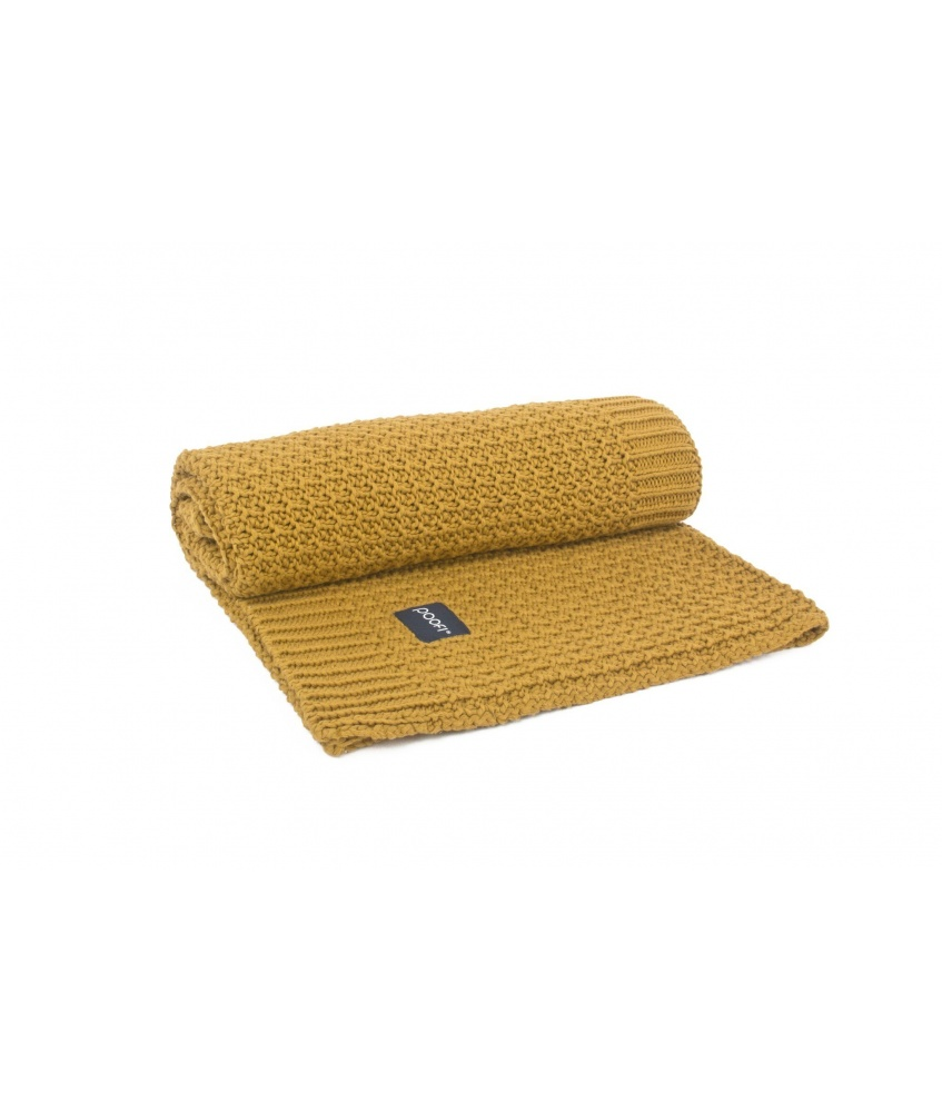 Knitted Organic Blanket Corn Knit color: mustard