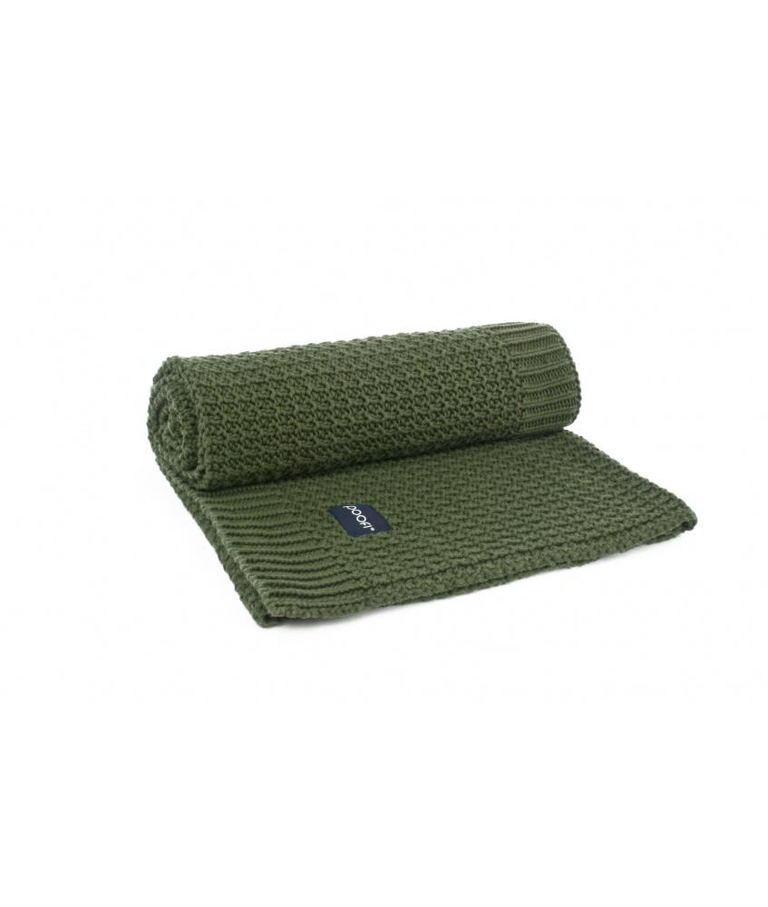 Knitted Organic Blanket Corn Knit color: bottle green