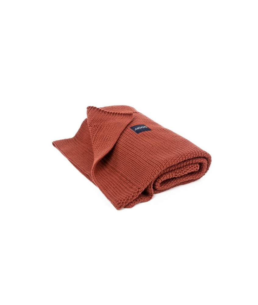 Knitted Classic Organic Blanket color: brick