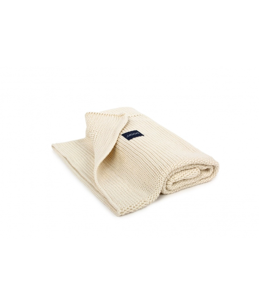 Knitted Classic Organic Blanket color: cream