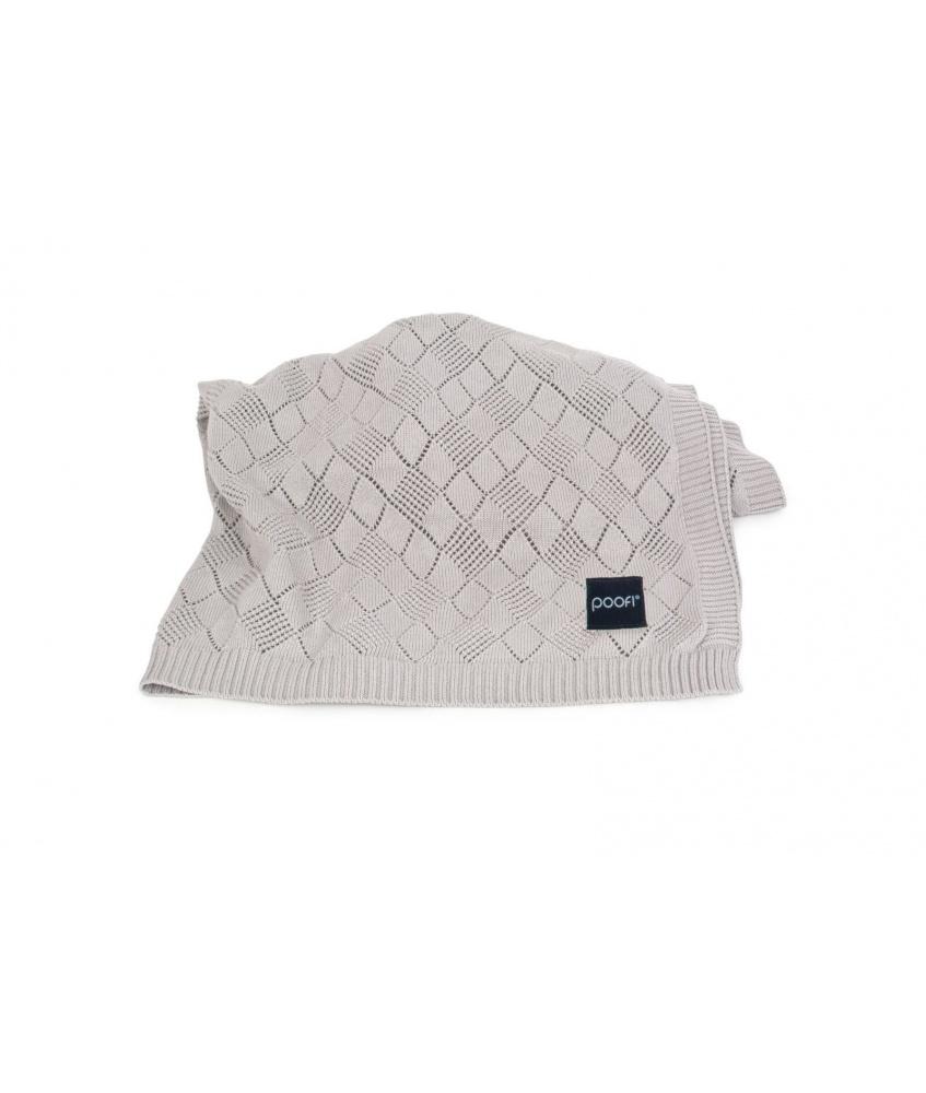 Openwork Knit Blanket: grey melange