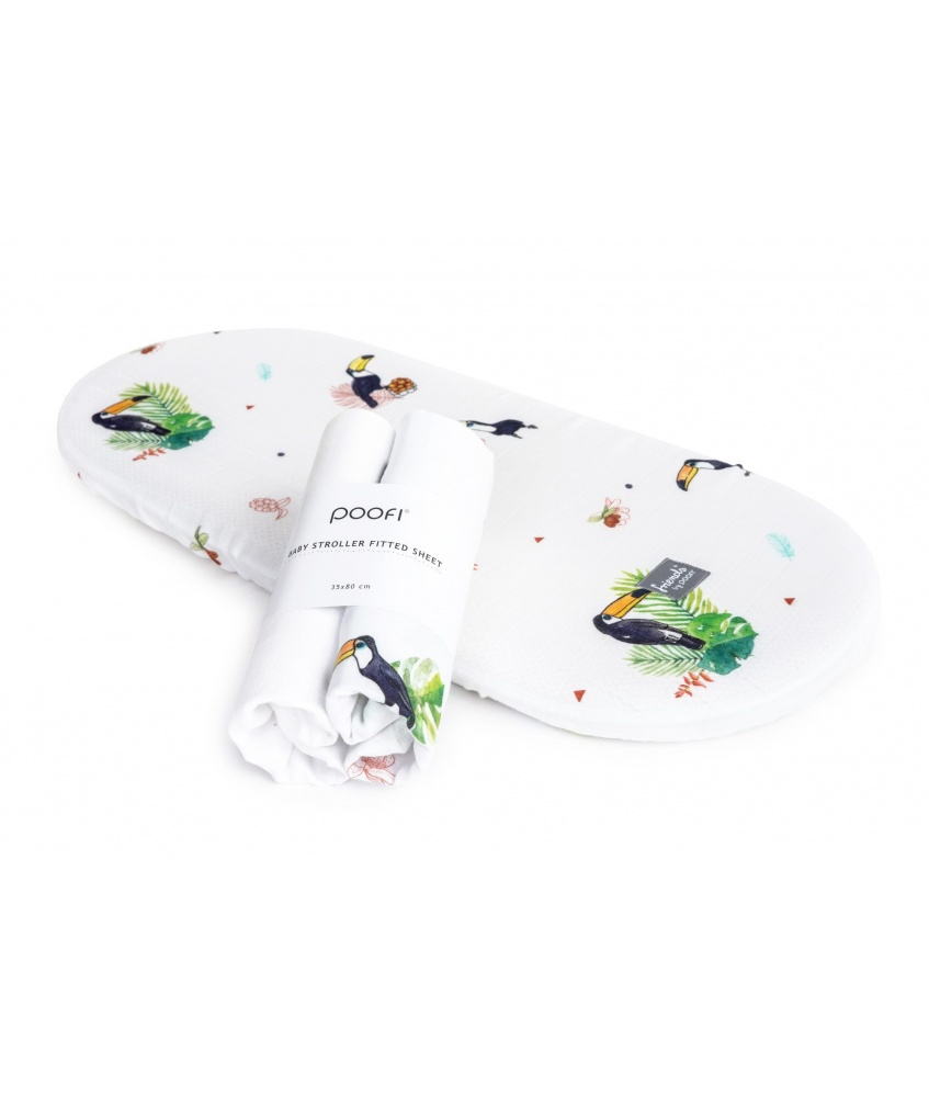 Fitted stroller mattress sheets 2-pack color: toucans and plain