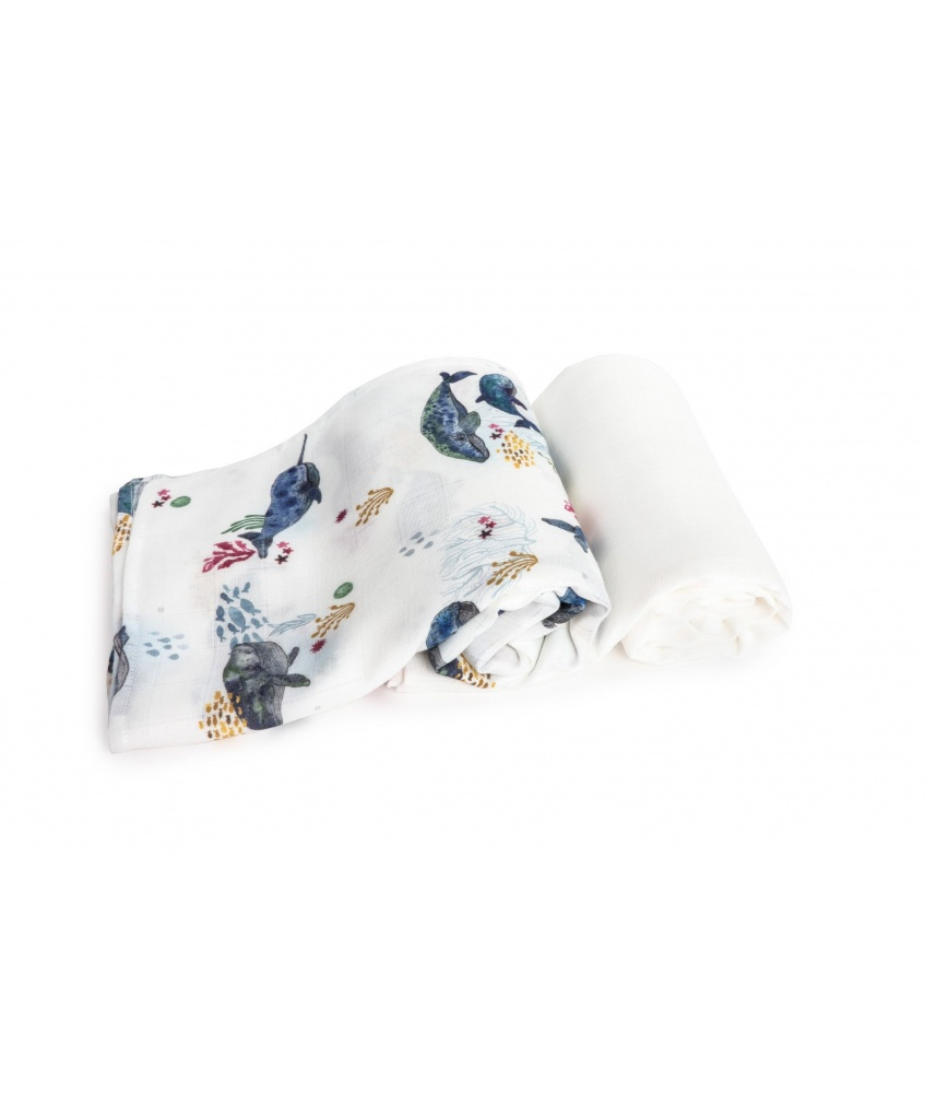 2-pack bamboo swaddle Ocean 120x120cm color: whales and plain