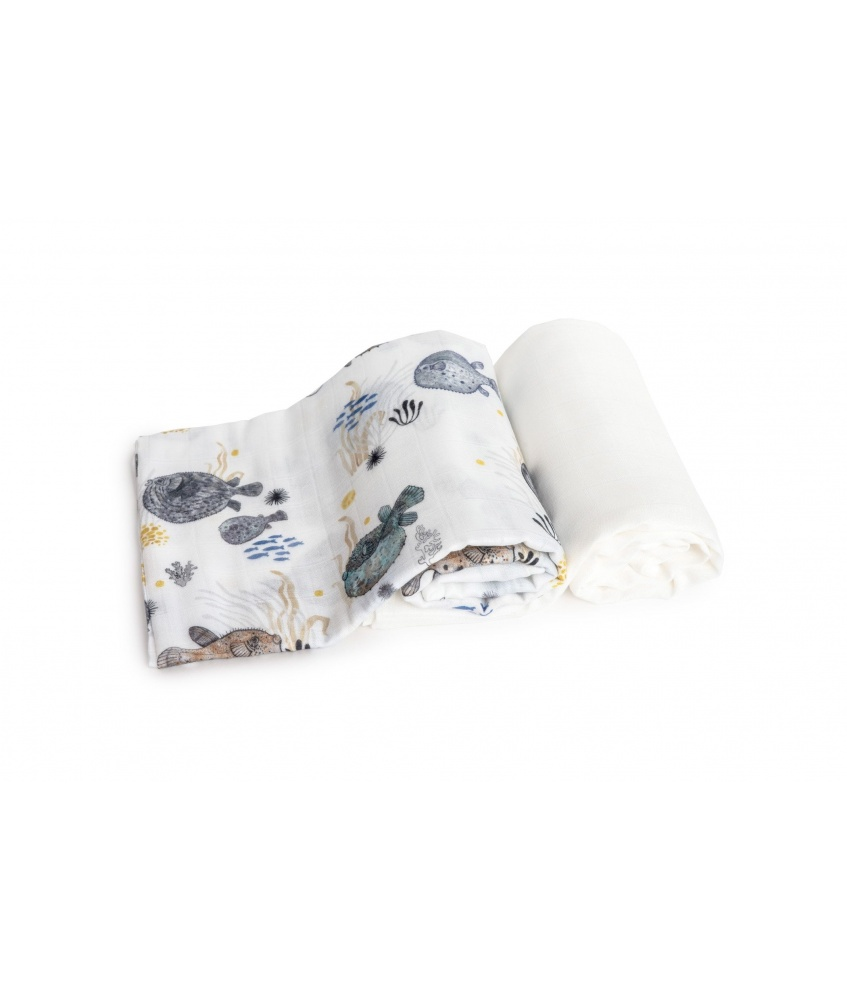 2-pack bamboo swaddle Ocean 120x120cm color: pufferfish and plain