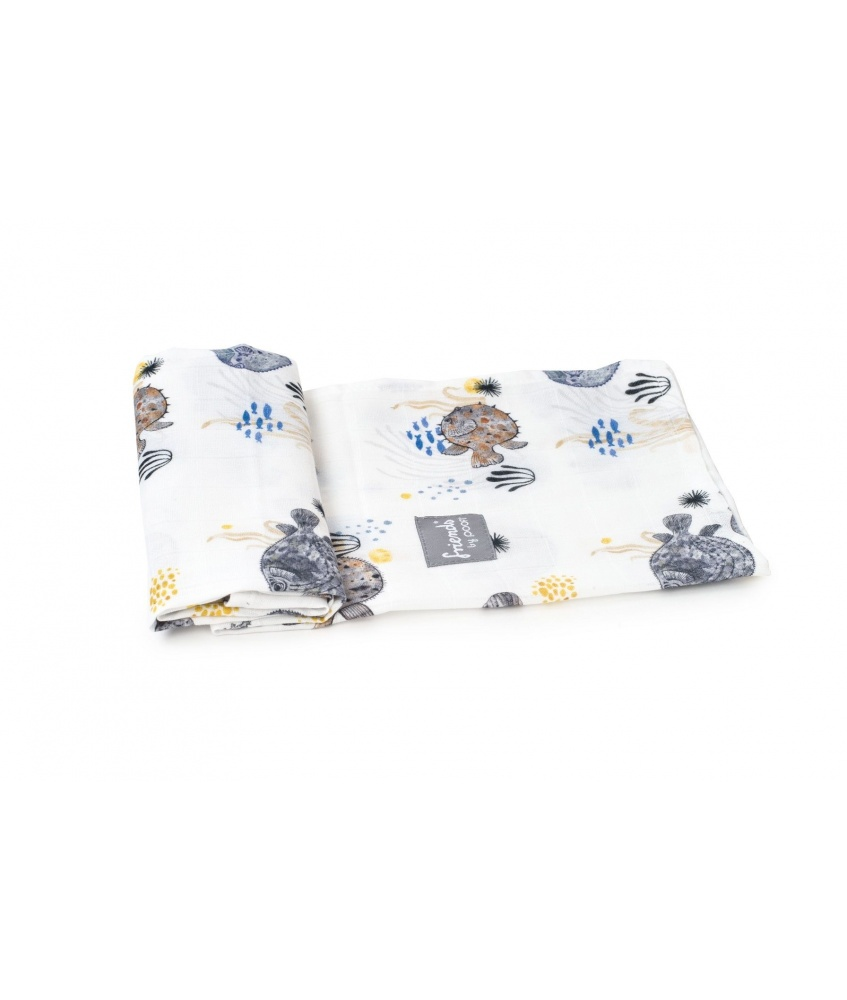Ocean Bamboo Swaddle 120x120cm color: pufferfish