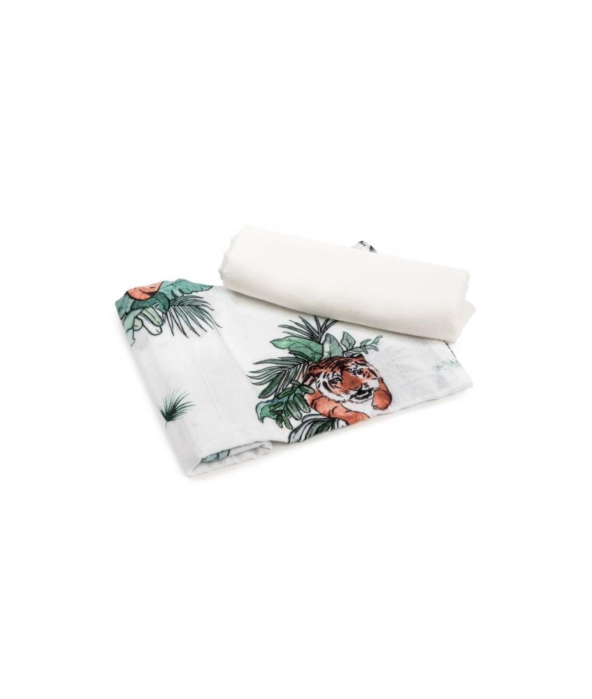 2-pak pieluszka bambusowa Tropical 73×73 cm kolor: tygrysy i gładki