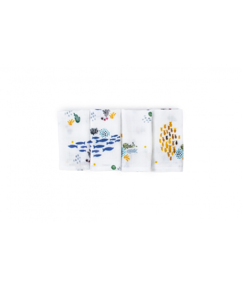 Ocean Small Bamboo Cloth 4-Pack 30x30cm color: shoals of fish