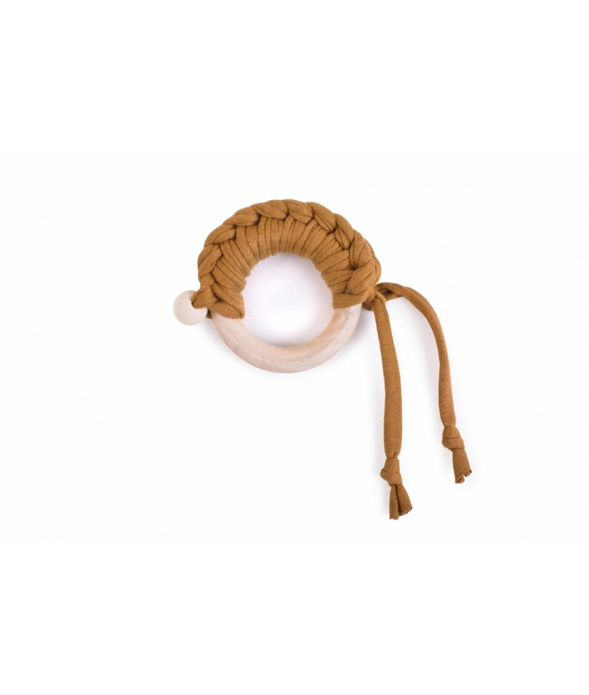 Maple Wood Teether Knit color: mustard