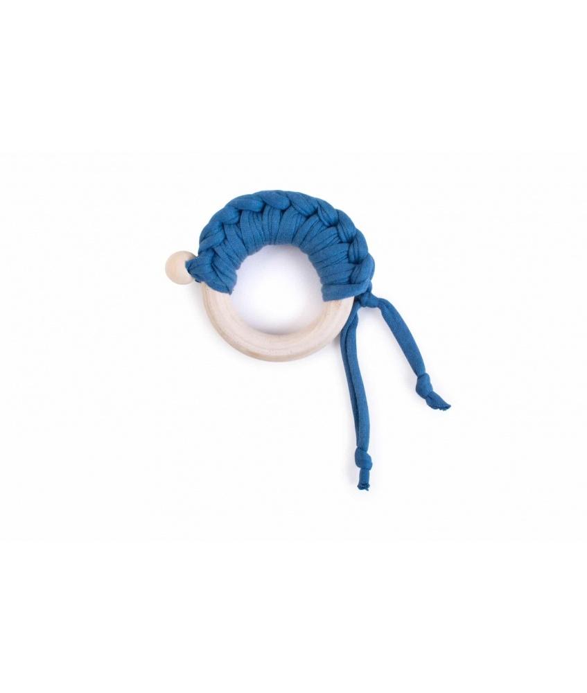 Maple Wood Teether Knit color: denim blue