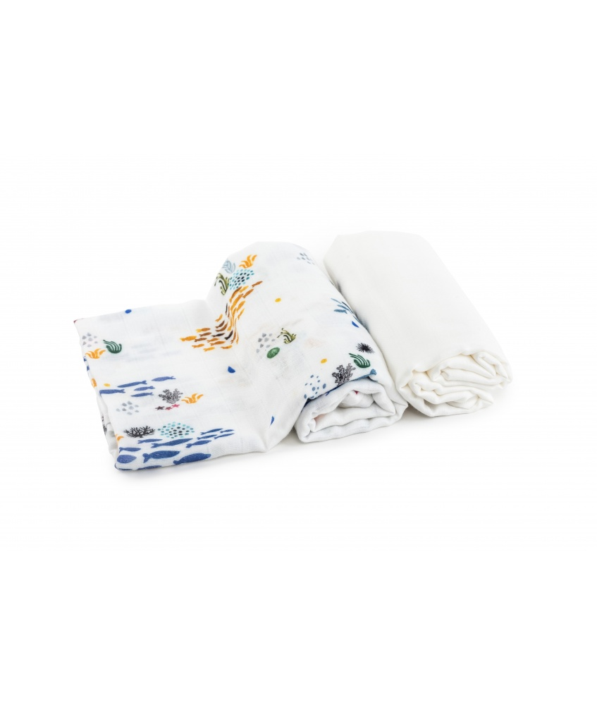 2-pack bamboo swaddle Ocean 120x120cm color: shoals of fish and plain