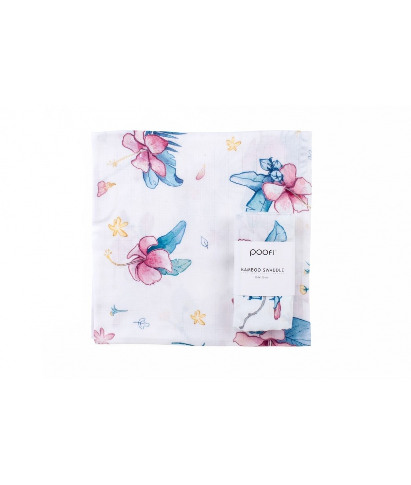 Bamboo swaddle Tropical 120x120cm color: hibiscus