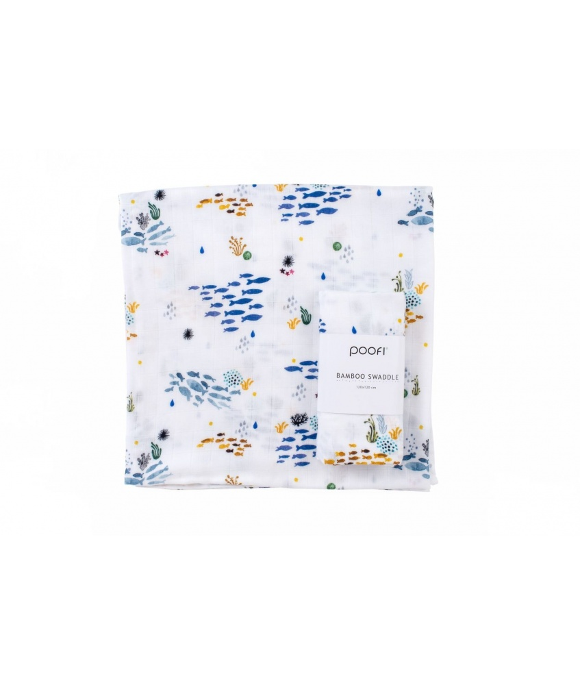 Ocean Bamboo Swaddle 120x120cm color: shoals of fish