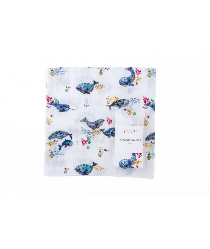 Ocean Bamboo Swaddle 120x120cm color: whales