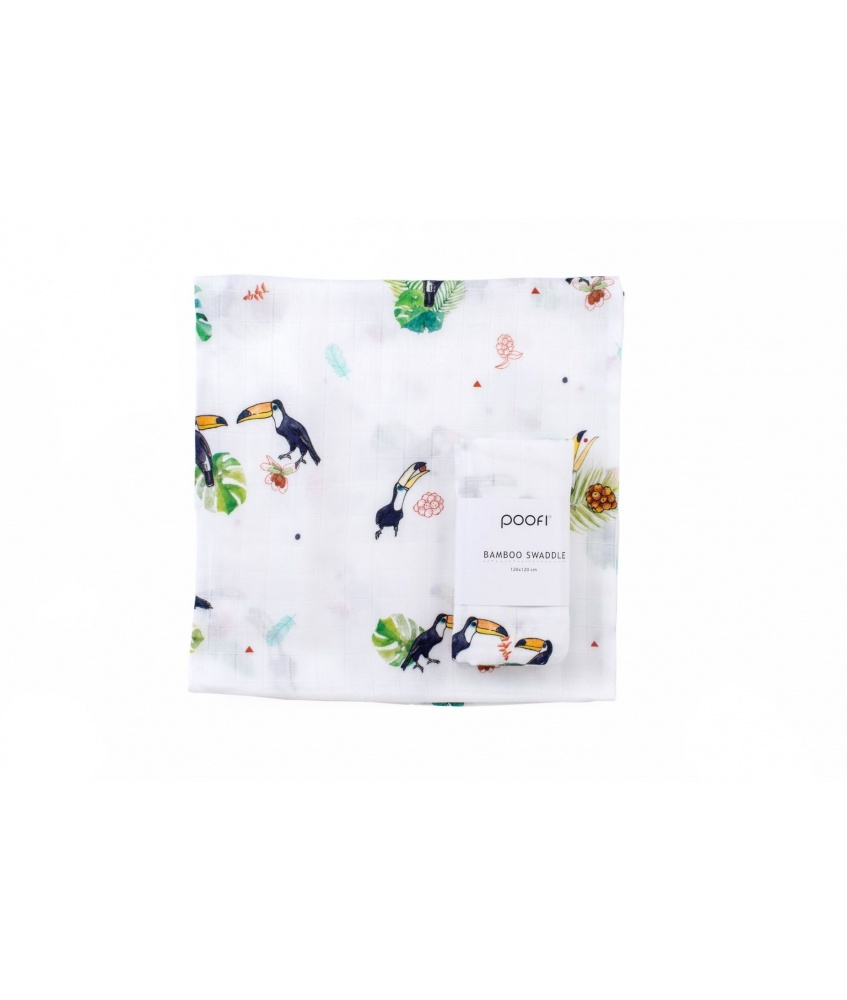 Bamboo swaddle Tropical 120x120cm color: toucan