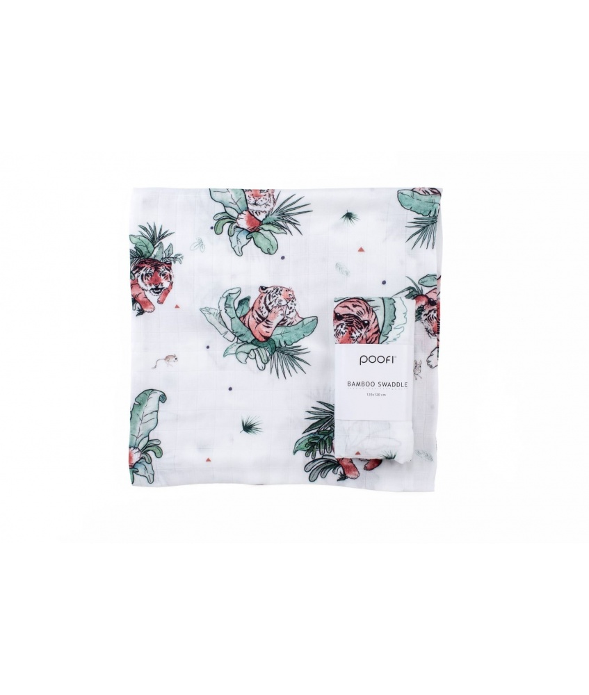 Bamboo swaddle Tropical 120x120cm color: tigers