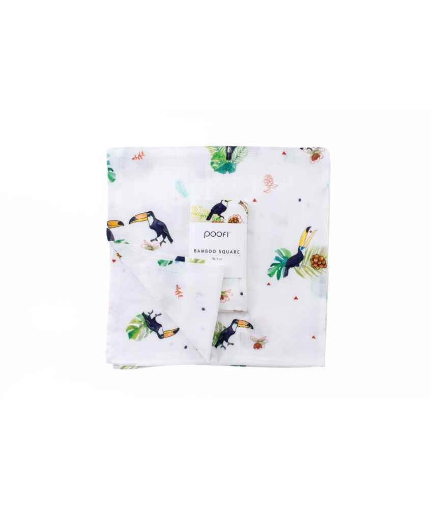 Bamboo square Tropical 73x73cm color: toucan