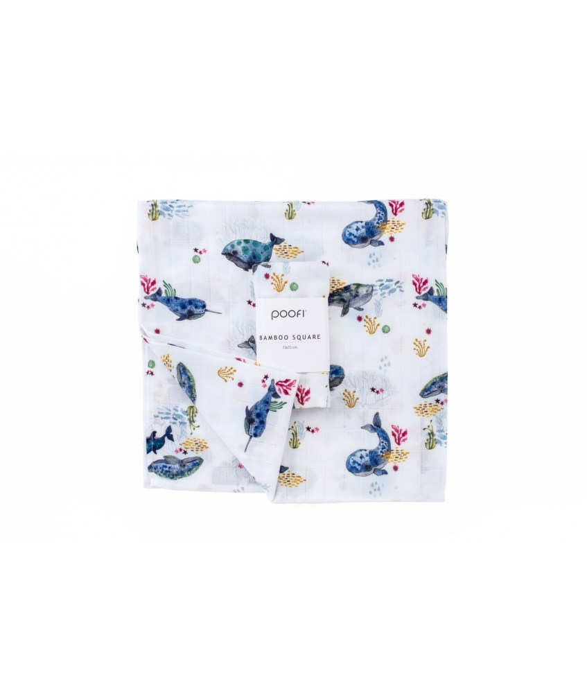 Bamboo square Ocean 73x73cm color: whales