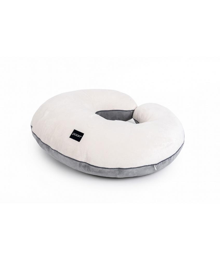 Poduszka do karmienia Minky kolor: kremowo-szary