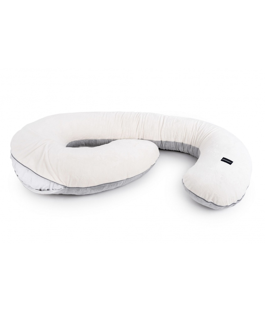 Pillowcase for pregnancy pillow Minky color: cream and grey