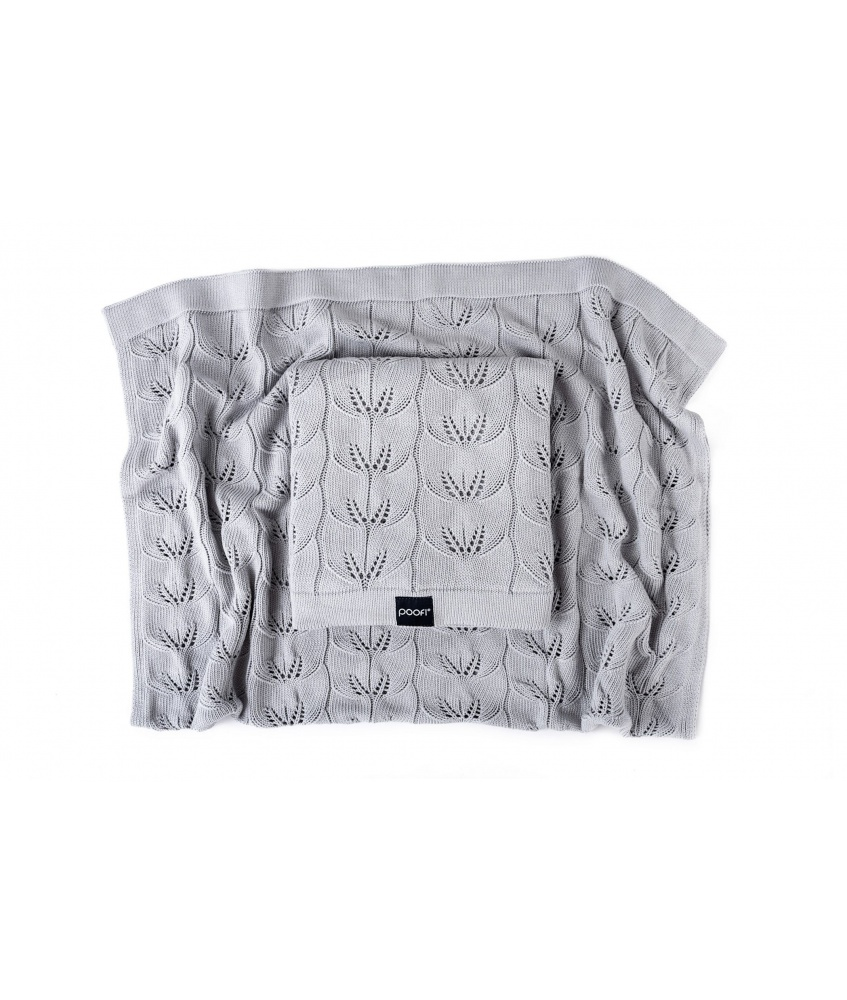 Knitted bamboo blanket Milano color: light grey