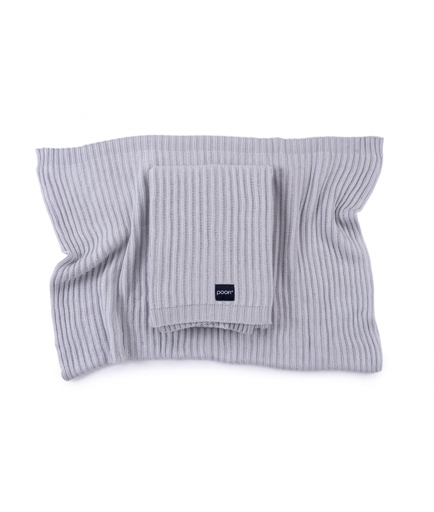 Knitted bamboo blanket Oslo color: light grey